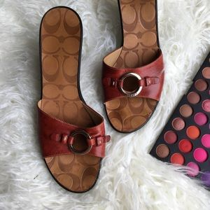 Red Coach wedge sandals
